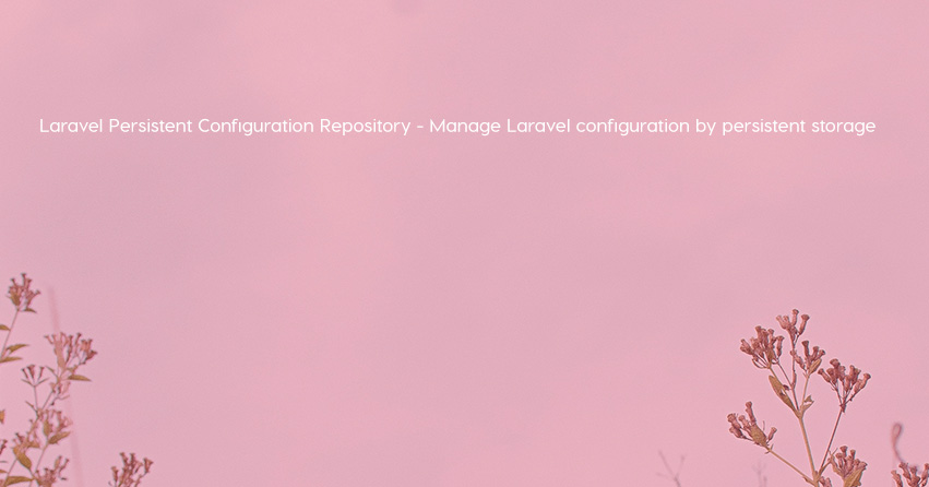 Laravel Persistent Configuration Repository - Manage Laravel configuration by persistent storage